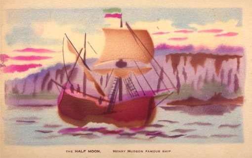 Half Moon Hudson Famous Ship Pochoir