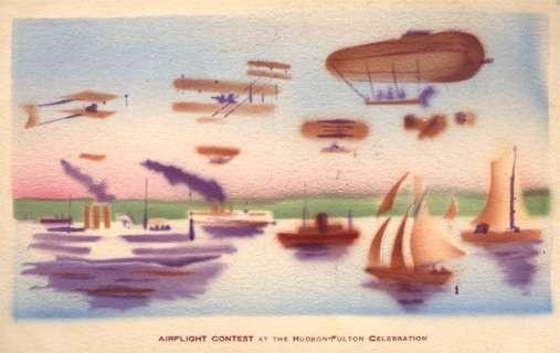Hudson-Fulton Celebration Biplanes Dirigible