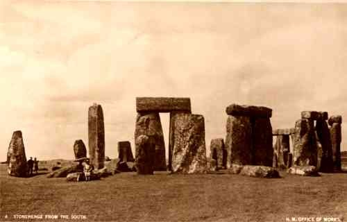 UK Stonehenge from South Tourists Real Photo