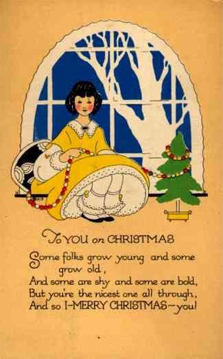 Girl Holding Beads Christmas Tree Volland