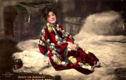 Actress Nesbit on Polar Bear Rug