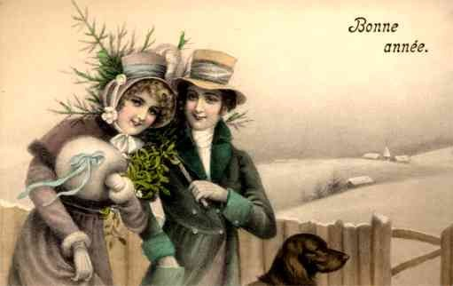 Dog Labrador by Lovers in Winter New Year