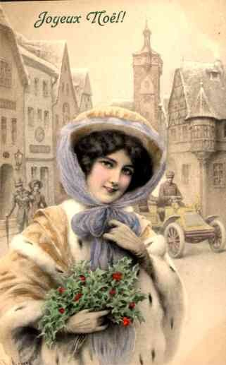 Lady Holding Leaves with Berries Auto in Winter