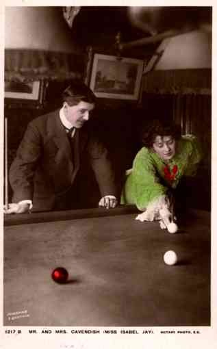 Family Cavendish Playing Billiards Real Photo