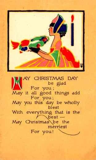Girl Holding Wreath Christmas Poem Volland #820