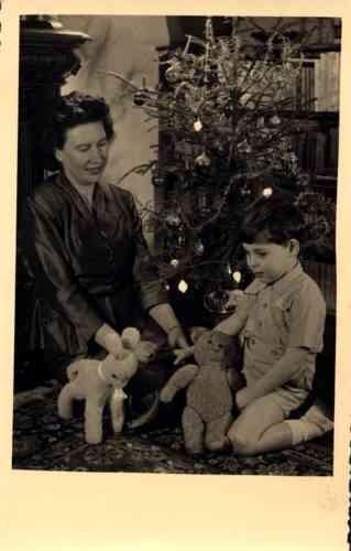 Boy Holding Teddy Bear by Christmas Tree RP