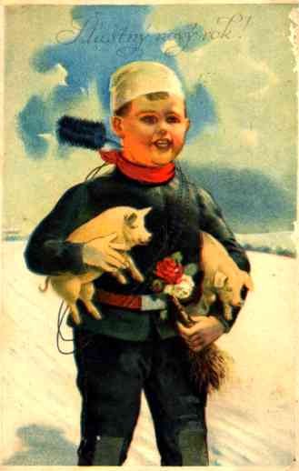 Chimney Sweep Holding Two Piglets