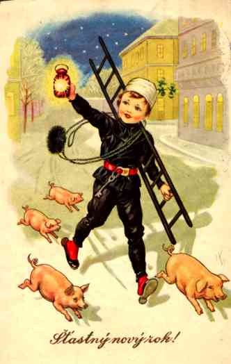 Running Chimney Sweep Followed by Piglets