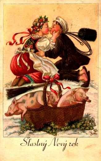 Girl Kissing Chimney Sweep Piglets