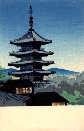 Pagoda Woodblock Print