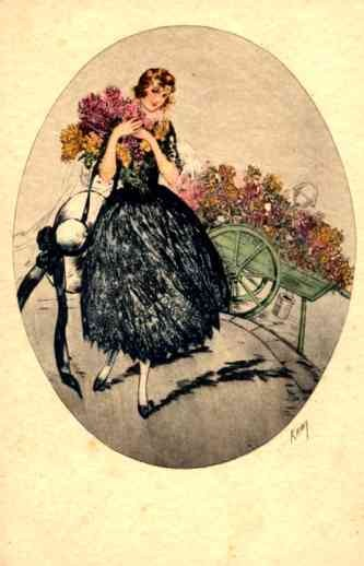 Kaby Girl with Flowers by Cart