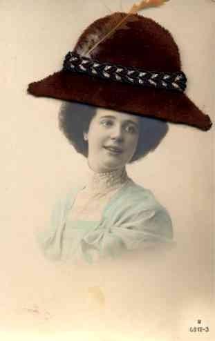 Felt Hat Lady Real Photo Novelty