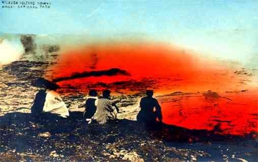 Hawaii Kilauea Volcano Tourists RPPC