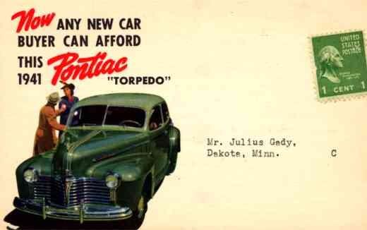Advert Pontiac Torpedo Novelty