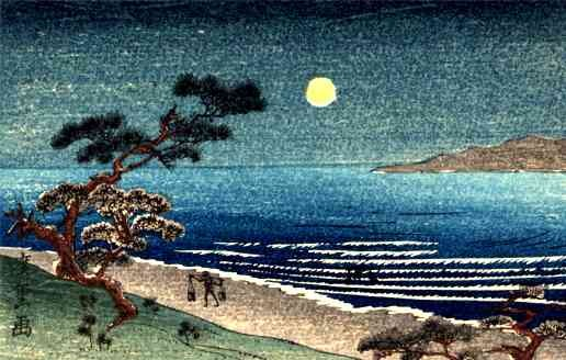 Water Carrier Moon Woodblock