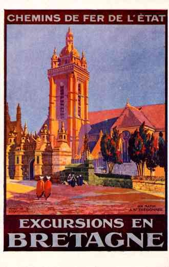 Bretagne Church Travel Poster French
