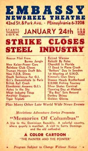 Advert Embassy Theatre Strike Closes Steel