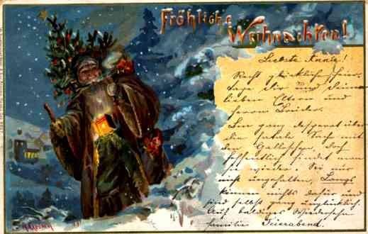 Santa Claus Brown Robed Chromolitho