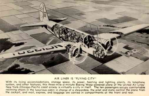 United Air Lines Airplane Real Photo