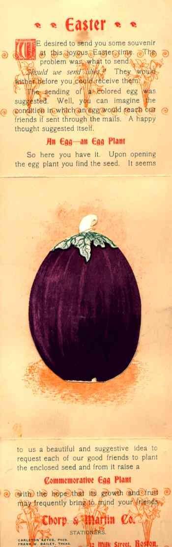 Advert Seeds Easter Eggplant L & K