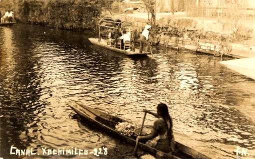 Canoe & Boat Flower Shop RPPC Mexico