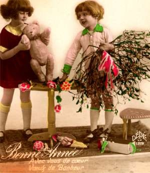 Girls & Teddy Bear Hand-Tinted RPPC