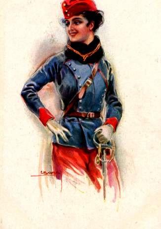 Art Deco Italian Woman Warrior