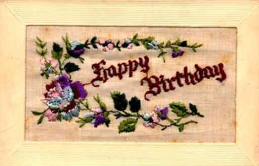 Embroidered Silk Rose Birthday
