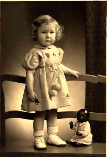 Girl and Black Golliwog Real Photo