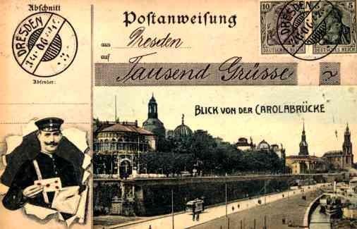 Mailman Trolley German Stamps