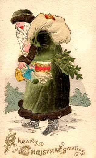 Green Robed Santa Claus with Doll