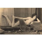 French Nude Risque Touching Foot RPPC