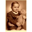 Boy Holding Teddy Bear Real Photo