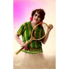Girl with Tennis Racket Real Photo