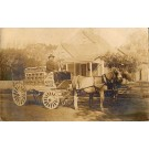 Horse Drawn Water Wagon Real Photo