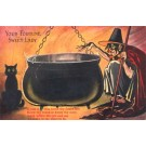 Cat Witch Brewing Fortune Inside Pot Fold-Out
