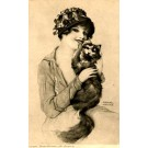 Cat Held by Young Lady