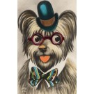 Dog in Top Hat with Plastic Glasses Novelty