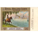 Horse Rider Waving to Ocean Liner Royal Holland