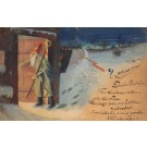 Krampus Watching St. Nicholas Hand-Drawn