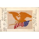 Woven Silk Eagle over Flags