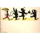 Black with Umbrella Following Silhouettes