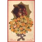Krampus Holding Bouquet of Flower Roses