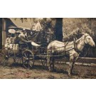 Black Faces in Horse-Drawn Carriage Real Photo