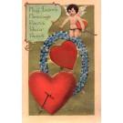 Cupid with Arrow Silk Heart