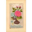 Flower Rose in Basket Woven Silk