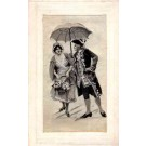 Lovers under Umbrella Woven Silk