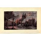 Woven Silk France Arras 1915 in Fire WWI
