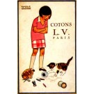 Advert Cottons Kitten Playing with Thread