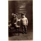Teddy Bear in Chair Girl Real Photo